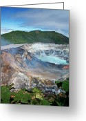 Volcano Greeting Cards - Volcan Poas Greeting Card by Kryssia Campos