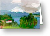 Retratos Greeting Cards - Volcanes Sur de Chile Greeting Card by Carlos Camus