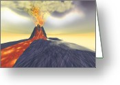 Catastrophe Greeting Cards - Volcanic Greeting Card by Corey Ford
