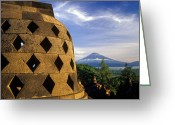 Borobudur Greeting Cards - Volcano and Stupa of Ancient Temple of Borobudur in Indonesia  Greeting Card by Petr Svarc