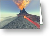 Catastrophe Greeting Cards - Volcano Greeting Card by Corey Ford