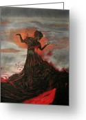 Melita Safran Greeting Cards - Volcano keeper Greeting Card by Melita Safran