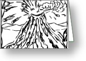 Learn To A Maze Greeting Cards - Volcano Maze Greeting Card by Yonatan Frimer Maze Artist