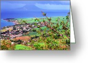 West Indies Greeting Cards - Volcano viewed from Brimstone Hill Greeting Card by Thomas R Fletcher