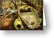 Old Volkswagen Car Greeting Cards - Volkswagen Cemetery Kentucky Greeting Card by Cindy Wright
