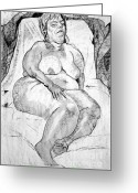 Nudes Drawings Greeting Cards - Voluptuous Nude Sleeping  Greeting Card by Joanne Claxton