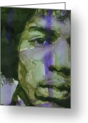 Jimi Hendrix Painting Greeting Cards - Voodoo Child Greeting Card by Paul Lovering