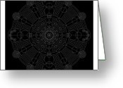 Mayan Art Greeting Cards - Vortex Inverse Greeting Card by Dean Caminiti