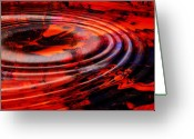 Reds Mixed Media Greeting Cards - Vortex Greeting Card by Patricia Motley