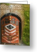 Trains Painting Greeting Cards - Vosburg Tunnel Greeting Card by Christopher Jenkins
