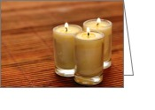 Bamboo Greeting Cards - Votive Candle Burning Greeting Card by Olivier Le Queinec