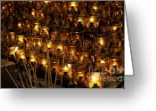Sacred Photo Greeting Cards - Votive Candles Greeting Card by John Greim