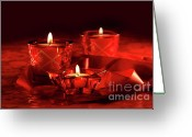Shimmer Greeting Cards - Votive candles on dark red background Greeting Card by Sandra Cunningham