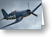 Sports Prints Greeting Cards - Vought F4U Corsair 2011 Chino Air Show Greeting Card by Gus McCrea