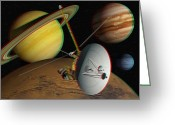Stereo Greeting Cards - Voyager Spacecraft, Stereo Image Greeting Card by David Ducros