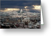Sight Seeing Greeting Cards - Vue de la Butte Montmartre.Roofs of Paris Greeting Card by Bernard Jaubert