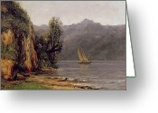 Cliff Painting Greeting Cards - Vue du Lac Leman Greeting Card by Gustave Courbet