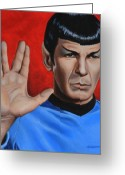 Science Fiction Tapestries Textiles Greeting Cards - Vulcan Farewell Greeting Card by Kim Lockman