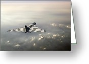 Raf Photo Greeting Cards - Vulcan over the Channel Greeting Card by Gary Eason