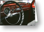 Old Volkswagen Car Greeting Cards - VW Beetle Interior Greeting Card by Georgia Fowler