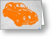 Funny Car Greeting Cards - VW Beetle Orange Greeting Card by Irina  March