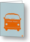 Funny Car Greeting Cards - VW Bus Orange Greeting Card by Irina  March