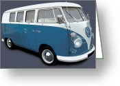 Campervan Greeting Cards - VW Campervan Blue Greeting Card by Richard Herron