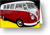 Campervan Greeting Cards - VW Campervan German Flag Greeting Card by Richard Herron