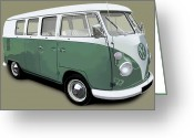 Campervan Greeting Cards - VW Campervan Green Greeting Card by Richard Herron