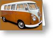 Campervan Greeting Cards - VW Campervan Orange Greeting Card by Richard Herron