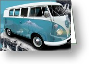 Campervan Greeting Cards - VW Campervan Shangri La Blue Greeting Card by Richard Herron