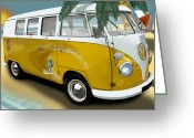 Campervan Greeting Cards - VW Campervan Surfs Up Greeting Card by Richard Herron