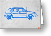 Funny Car Greeting Cards - VW Golf Greeting Card by Irina  March