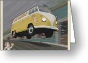 Delivery Greeting Cards - Vw Van High Speed Delivery Greeting Card by Mitch Frey