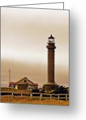 Station Greeting Cards - Wacky Weather at Point Arena Lighthouse - California Greeting Card by Christine Till