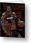 Nba Greeting Cards - Wade Greeting Card by Maria Arango