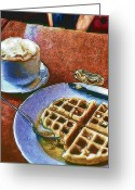 Photograph Digital Art Greeting Cards - Waffles and Coffee Greeting Card by Scott Norris