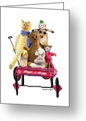 Stuffed Animals Greeting Cards - Wagon Full Of Toys Greeting Card by Arline Wagner