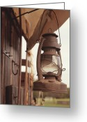Oklahoma Greeting Cards - Wagon lantern Greeting Card by Toni Hopper