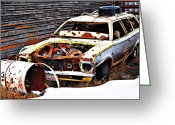 Edmonton Greeting Cards Posters Greeting Cards - Wagon Of Rust Greeting Card by Jerry Cordeiro