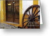 Antique Wagon Greeting Cards - Wagon Wheel Greeting Card by Carlos Caetano