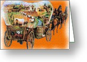 Western Pencil Drawing Greeting Cards - Wagons Ho Greeting Card by Garry Staranchuk