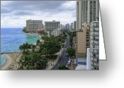 Waikiki Beach Greeting Cards - WAIKIKI BEACH and KALAKAUA AVENUE - HAWAII Greeting Card by Daniel Hagerman