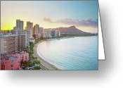 Pacific Islands Greeting Cards - Waikiki Beach At Sunrise Greeting Card by Monica and Michael Sweet