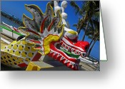 Waikiki Beach Greeting Cards - Waikiki Dragon Greeting Card by Elizabeth Hoskinson