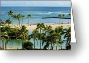 Hawaiian Pond Greeting Cards - Waikiki Hawaii Greeting Card by Micah May