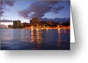 Waikiki Beach Greeting Cards - Waikiki Night Life Greeting Card by Kelly Wade