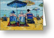 Beach Towel Mixed Media Greeting Cards - Waikiki Greeting Card by Russell Pierce