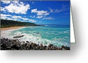 North Shore Greeting Cards - Waimea Bay Greeting Card by Ty Helbach