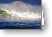 Big Wave Surfing Greeting Cards - Waimea Bay Wave Greeting Card by Kevin Smith